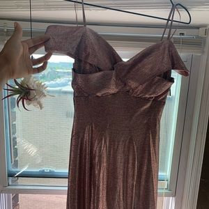 off the shoulder pretty in pink mermaid dress